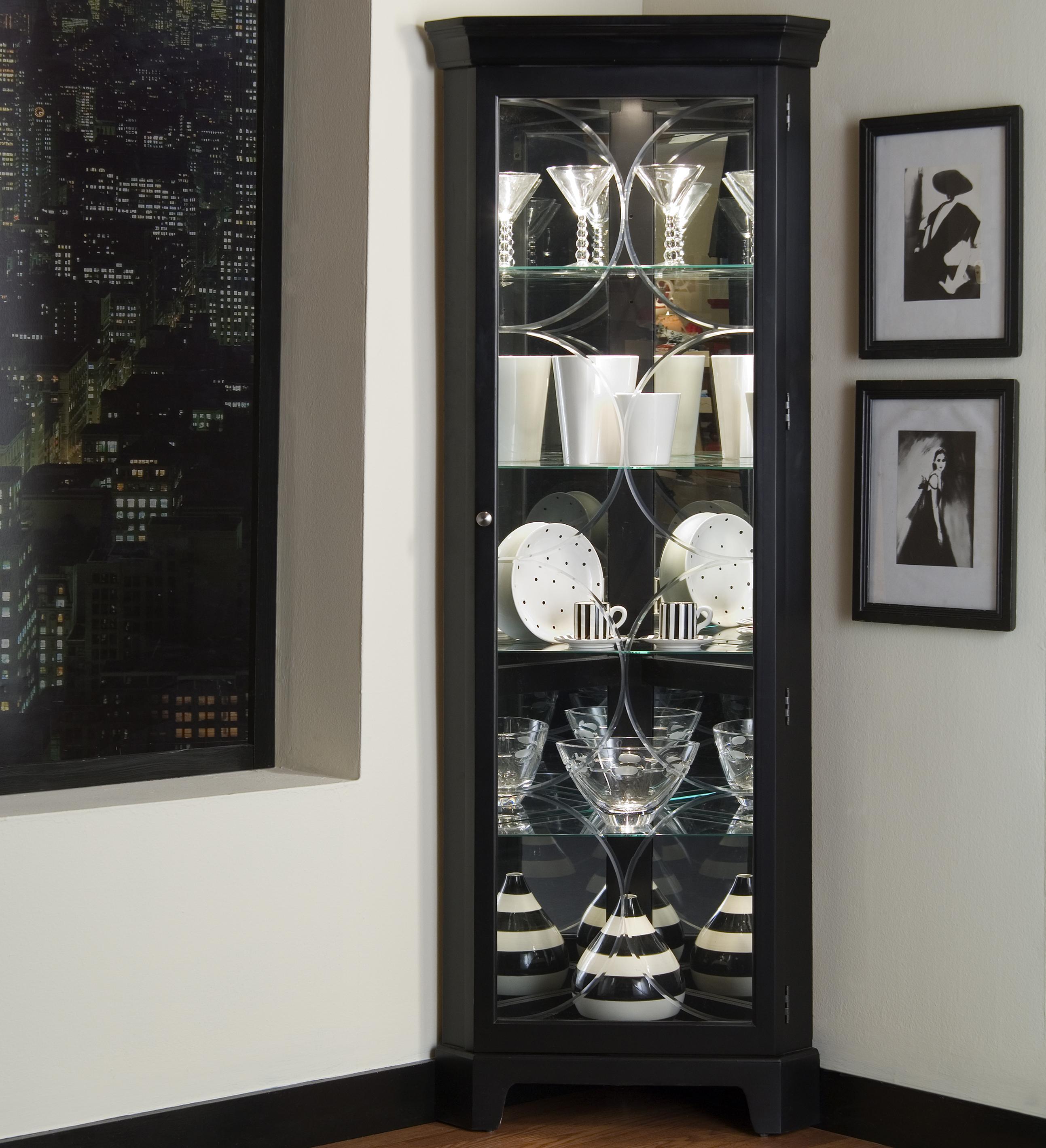 Curios Oxford Black Corner Curio by Pulaski Furniture at Baer's Furniture
