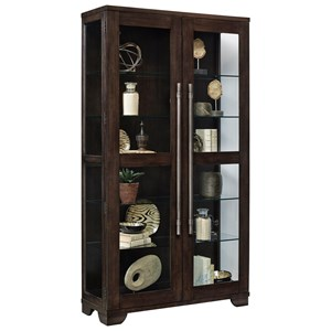 Contemporary Curio with Oversized Metal Handle Hardware