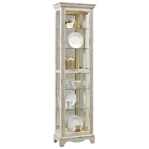 Traditional Curio in Weathered White Finish