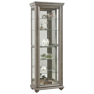 Sliding Front Curio with 5 Shelves in Weathered Grey