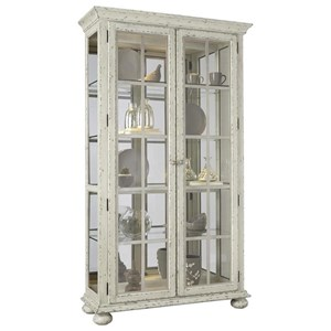 Door Curio in Heavily Distressed White Finish
