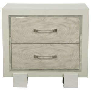 2 Drawer Nightstand with Nickel Polished Details
