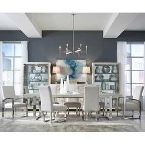 Contemporary 7-Piece Double Pedestal Table and Metal Chair Set