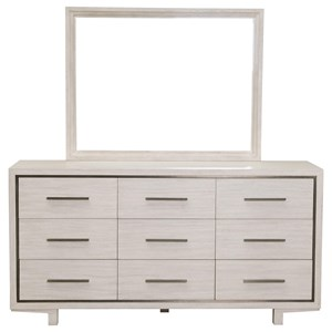 Contemporary 9-Drawer Dresser in White Wash Finish