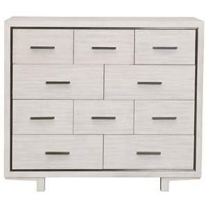 Contemporary 9-Drawer Media Chest with Drop Front Drawer