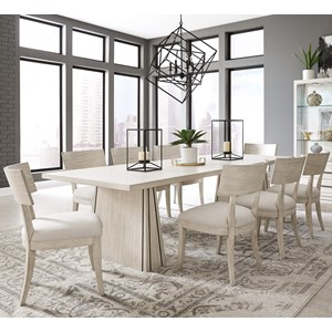Contemporary 9-Piece Table and Chair Set in White Wash Finish
