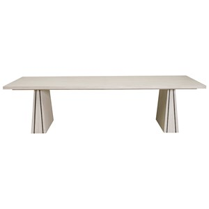 Large Contemporary Rectangular Dining Table in White Wash Finish