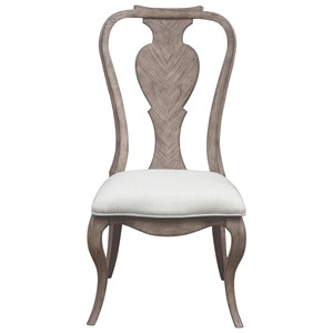 Traditional Splat Back Side Chair with Upholstered Seat