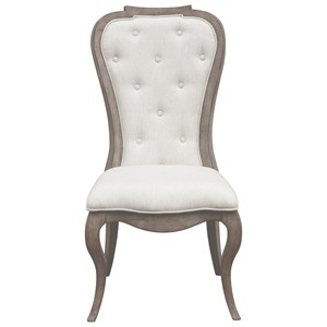 Traditional Upholstered Back Side Chair with Button Tufting
