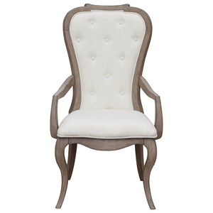 Traditional Upholstered Back Arm Chair