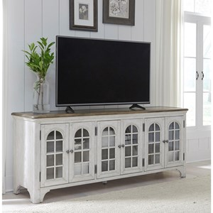 Farmhouse Media Console Arched Top Glass Paneled Doors