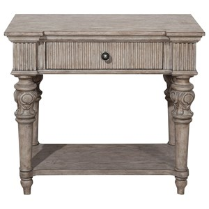 Traditional Open Nightstand with USB Port