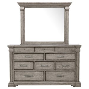 Transitional 10 Drawer Dresser and Mirror Set