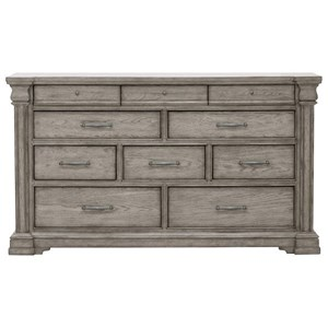 Transitional 10 Drawer Dresser