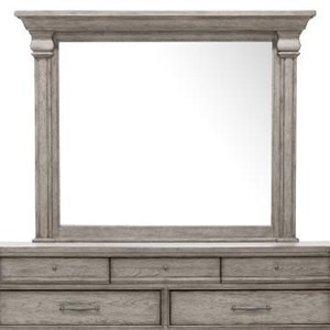 Transitional Dresser Mirror with Moulded Top