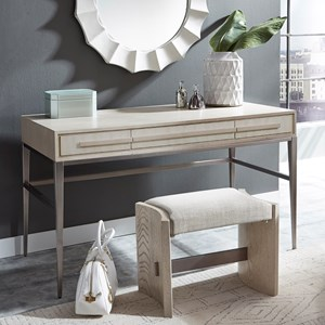 Transitional 3-Drawer Vanity Desk and Upholstered Stool