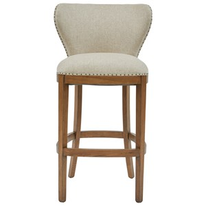 Deconstructed Upholstered Barstool with Exposed Wood Back