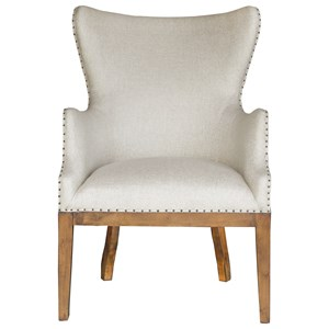 Curved Back Arm Chair with Nailhead Trim