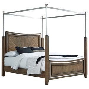 Queen Canopy Bed with Silver Metal Canopy