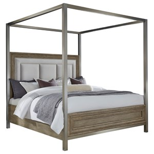 Queen Canopy Bed with Upholstered Headboard