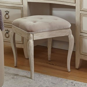 Upholstered Vanity Stool with Cabriole Legs