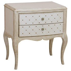 Glamorous 2-Drawer Leg Nightstand with USB Charger