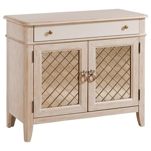 Glamorous Media Chest with Antique Mirror and Metal Accents