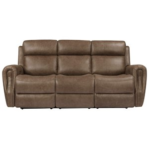 Transitional Power Reclining Sofa with Power Headrest