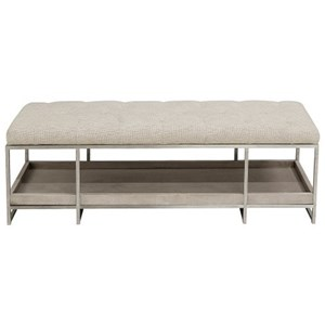 Contemporary Upholstered Bed Bench with Tray Shelf
