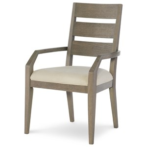 Ladder Back Arm Chair with Upholstered Seat