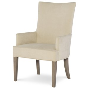 Upholstered Host Chair with Tapered Legs