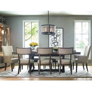9 Piece Dining Set with Trestle Table