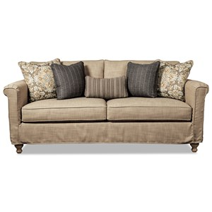 Slipcover Sofa with Demi Skirt and Traditional Turned Wood Legs