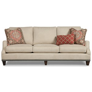 Transitional English Arm Sofa with Ribbon Trim and Nailheads