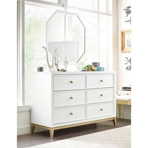 6 Drawer Dresser and Mirror Set with Gold Accents