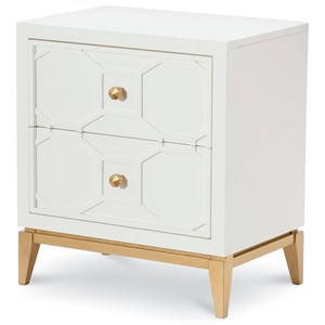 2 Drawer Night Stand with Decorative Lattice and Gold Accents