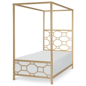 Gold Finished Twin Metal Canopy Bed