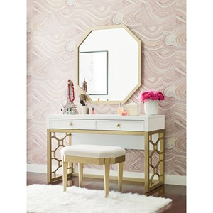 White and Gold Vanity with 2 Drawers