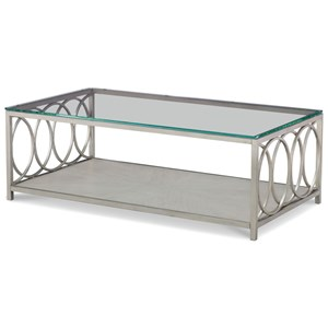 Glass Top Rectangle Cocktail Table with Shelf