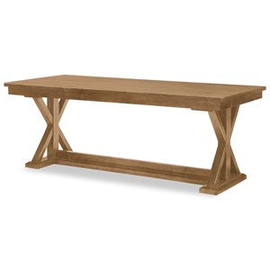 Trestle Table With Leaf And Storage Drawers