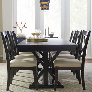 Trestle Dining Table With Leaf And 6 Upholstered Side Chairs