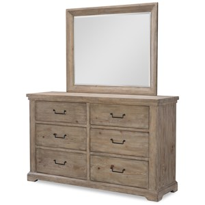 Rustic 6 Drawer Dresser and Mirror Set