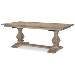 Rectangular Trestle Table with 2 Leaves