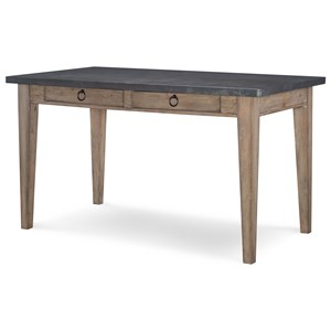 2 Drawer Pub Table with Metal Top