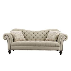 Traditional Tufted Fabric Sofa