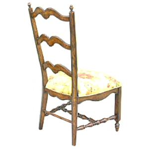 Rare Collections Channel Crossings Ladder Back Side Chair w/ Darcy Fabric
