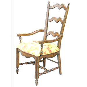 Rare Collections Channel Crossings Ladder Back Arm Chair w/ Darcy Fabric