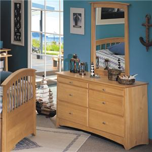 Renar Furniture Contempo Youth Dresser with Mirror Combination