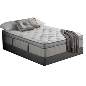 "Queen 14"" Super Pillow Top Hybrid Mattress and 5"" Low Profile Universal Foundation"
