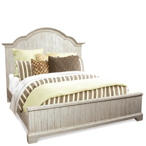 Queen Panel Bed in Weathered Worn White Finish
